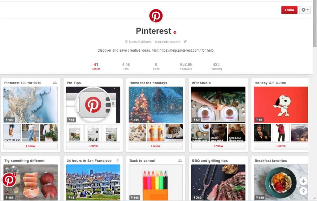 Sample Pinterest Boards